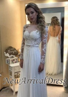 Simple Open Back Chic Long Sleeve Lace A-line Floor-length Wedding Dresses Cheap_1