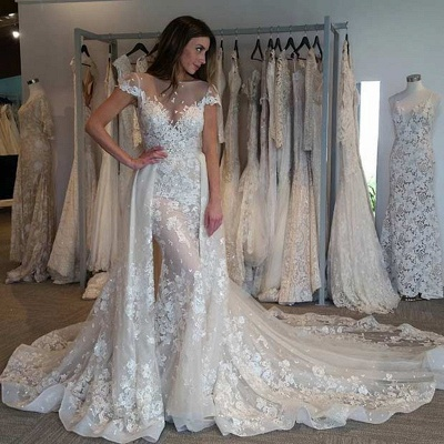 Illusion Cap Sleeves Bride Dresses Gorgeous Lace Appliques Overskirt Wedding Gowns_3