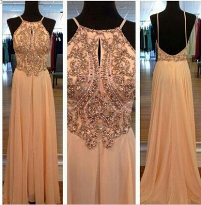 Chiffon Summer Evening Dresses Cheap Sexy Spaghetti Straps Beads A Line Prom Gowns_3