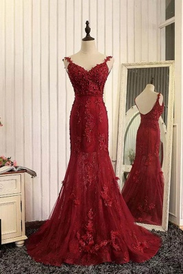 Tulle Mermaid Burgundy Prom Dresses Appliques Open Back Dresses Lace Evening Gowns_2