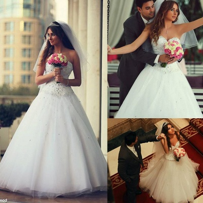 Gorgeous Sweetheart Sleeveless Crystals New Arrival A-line Wedding Dresses_6