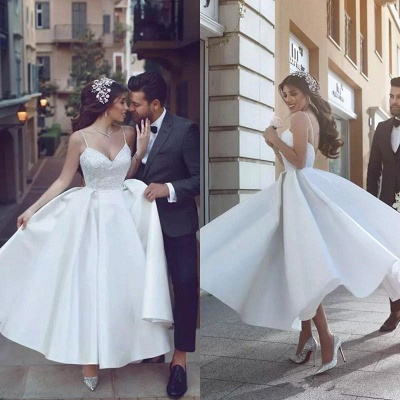 Gorgeous Spaghetti Strap New Arrival A-line Wedding Dresses   Online Bridal Gown Cheap_3