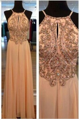 Chiffon Summer Evening Dresses Cheap Sexy Spaghetti Straps Beads A Line Prom Gowns_1