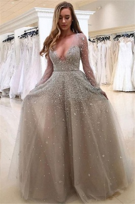 A-line Long Sleeves V-neck Floor-length Tulle Pearls Prom Dresses_3