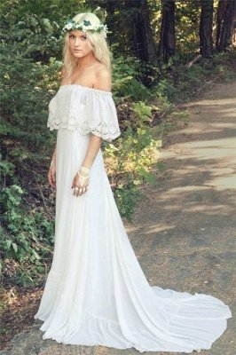 Simple Cheap Bohemian Wedding Dresses | Off The Shoulder Boho Beach Wedding Gown BO6883