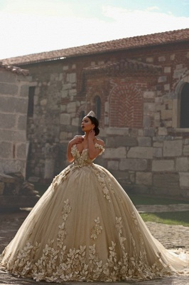 Off The Shoulder Flowers Gorgeous Wedding Dress Puffy Tulle Beaded Crystals Ball Gown Princess Bride Dress_3