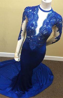 Appliques Royal Blue Sheath Sheer Tulle Lace Long Sleeve Scoop Prom Dresses Cheap_2