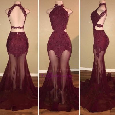 Burgundy Mermaid Sheer-Tulle High-Neck Lace-Appliques Prom Dresses_3