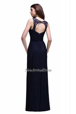 Vestidos de noche de tubo sin mangas de encaje hasta el suelo azul marino oscuro_3