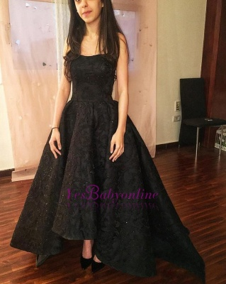 Black High-Low Prom Dresses | Sparkly Puffy Sleeveless Evening Gowns_1
