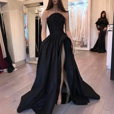 Sexy Designer Sleeveless Slit Black Evening Dress_3