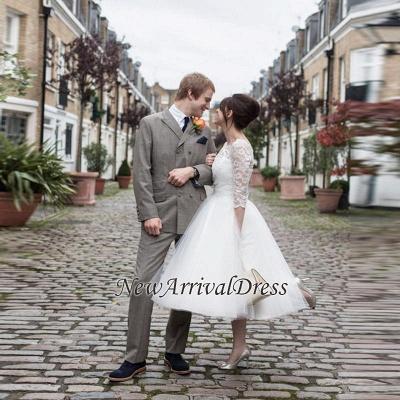 Tulle Designer Lace Appliques New Arrival Tea Length Charming Wedding Dresses_1