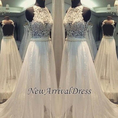 Simple A-line Sleeveless Hollow Scoop Sweep Train Wedding Dresses_1