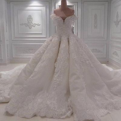 Elegante Off Shoulder Lace Brautkleider 2021 | Bezauberndes perlenbesetztes Brautballkleid_3
