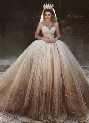 Sparkling Tulle Floor Length Wedding Dresses | Elegant Long Sleeve Bridal Dresses with Sequins_1