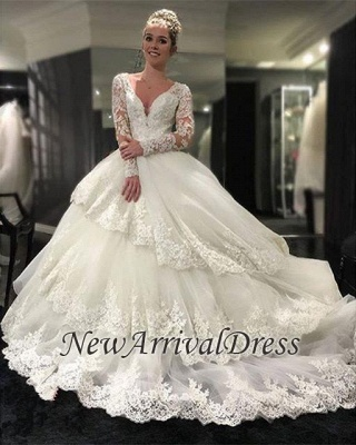 Three-Layers Long Sleeve Cheap Online New Arrival Lace Appliques Delicate Elegant Ball Gown Wedding Dresses_1