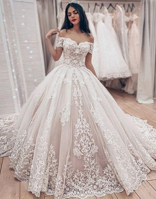 Cheap Off The Shoulder Lace Wedding Dress Cheap   Puffy Tulle Ball Gown Princess Bridal Dresses_3