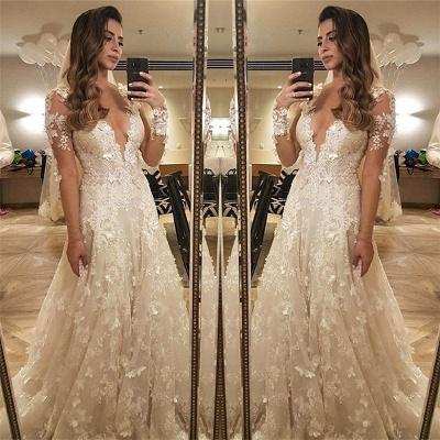 Blumen Spitze Langarm Brautkleid Illusion Amazing Bride Dress_3