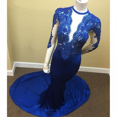 Appliques Royal Blue Sheath Sheer Tulle Lace Long Sleeve Scoop Prom Dresses Cheap_3