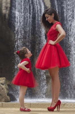 Lovely Red Lace Mother and Daughter Dress Tulle Short Cocktail Dress_2