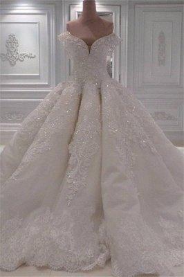 Elegante Off Shoulder Lace Brautkleider 2021 | Bezauberndes perlenbesetztes Brautballkleid_1