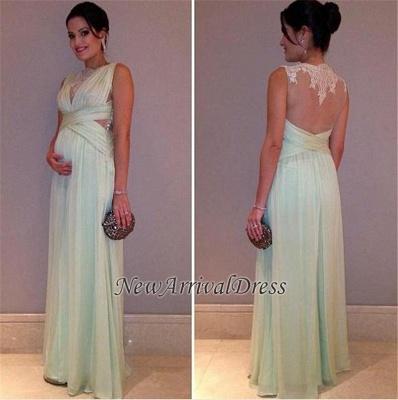 Chiffon Lace Sleeveless A-line Elegant Long Maternity Prom Dress_3