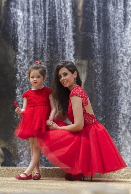 Lovely Red Lace Mother and Daughter Dress Tulle Short Cocktail Dress_4