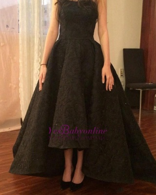 Black High-Low Prom Dresses | Sparkly Puffy Sleeveless Evening Gowns_4