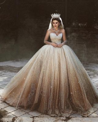 Sparkling Tulle Floor Length Wedding Dresses   Elegant Long Sleeve Bridal Dresses with Sequins_3