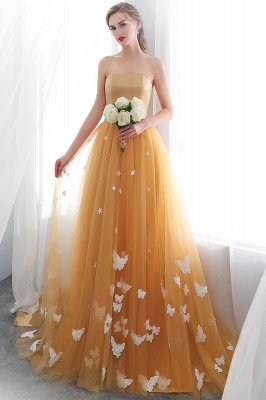 Sheath Sash Fashion Gold Floor-Length Long Evening Dresses_4