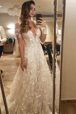 Flowers Lace Long Sleeve Wedding Dress Illusion Amazing Bride Dress_1