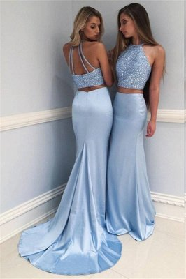 Halter Sweep-train Chiffon Beads Sequins Mermaid Two-piece Prom Dresses