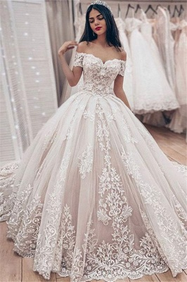 Cheap Off The Shoulder Lace Wedding Dress Cheap | Puffy Tulle Ball Gown Princess Bridal Dresses_1