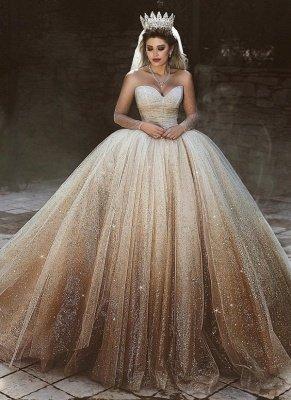 Sparkling Tulle Floor Length Wedding Dresses   Elegant Long Sleeve Bridal Dresses with Sequins_1