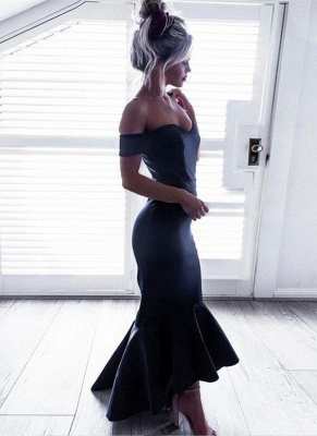 Short-Sleeves Off-The-Shoulder Black Mermaid Ruffle High-Low Chic Prom Dresses_3