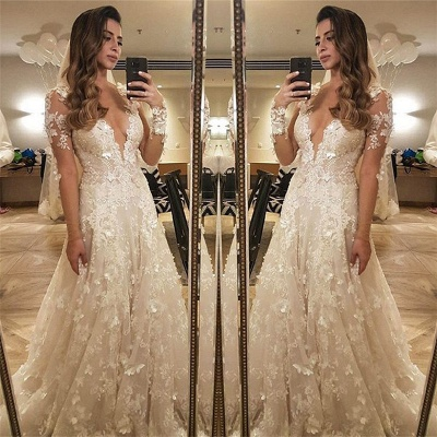 Flowers Lace Long Sleeve Wedding Dress Illusion Amazing Bride Dress_3