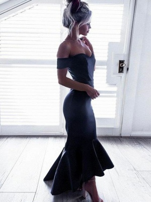 Short-Sleeves Off-The-Shoulder Black Mermaid Ruffle High-Low Chic Prom Dresses_4
