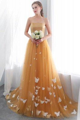 Sheath Sash Fashion Gold Floor-Length Long Evening Dresses_1