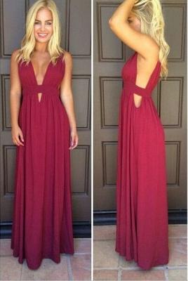 Burgundy Chiffon Deep V Neck Prom Dresses Simple Side Cut Floor Length Formal Evening Gowns_1