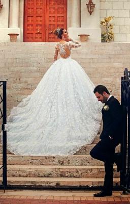 Long Sleeve Ball Gown Wedding Dress Cheap Court Train Custom Made Bridal Gowns_3