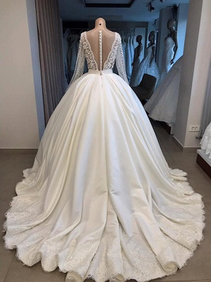 V-neck Long Sleeve Ball Gown Wedding Dress 2019 | Satin Beaded Lace Luxury Bridal Gowns Online_4