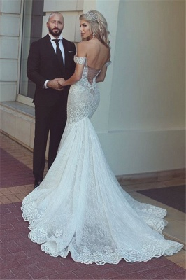 Mermaid Off The Shoulder Wedding Dresses Cheap   Sexy Open Back Lace Bridal Gowns BA7275_3
