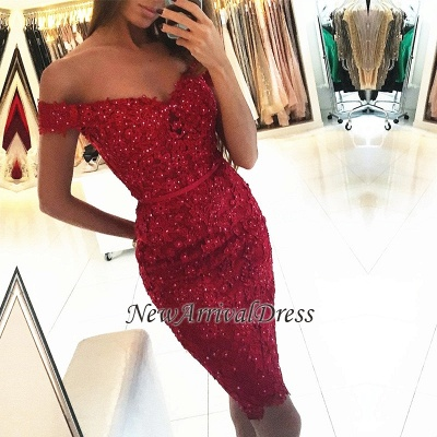 Off-the-Shoulder Sexy Sheath Short Appliques Red Beadings Homecoming Dress_1