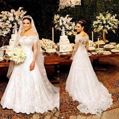Beautiful Custom Made Button Long Sleeve Lace Wedding Dresses Cheap Online_3