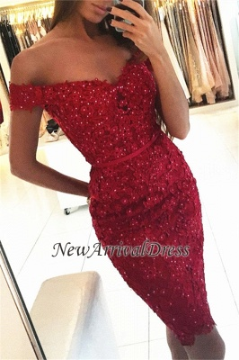 Off-the-Shoulder Sexy Sheath Short Appliques Red Beadings Homecoming Dress_3