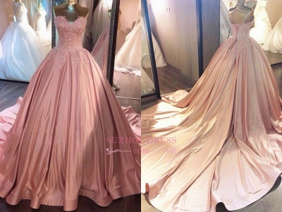 Strapless Lace Appliques Ball Gown Evening Dresses | Pink Quinceanera Dresses with Train BA8271_1