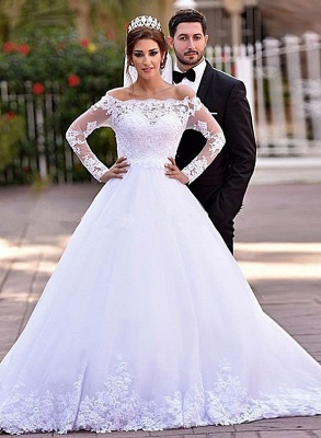 Lace Long Sleeve Wedding Dresses Off-the-shoulder A-line Bridal Gowns_1