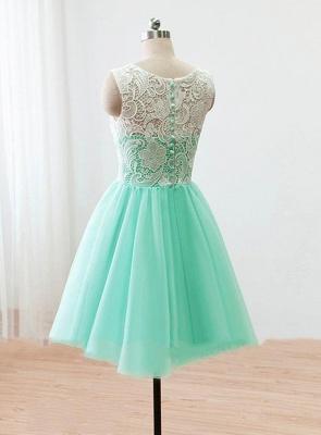 Short Lace Homecoming Dresses Sheer Buttons Back Elegant Mint Prom Dresses_3