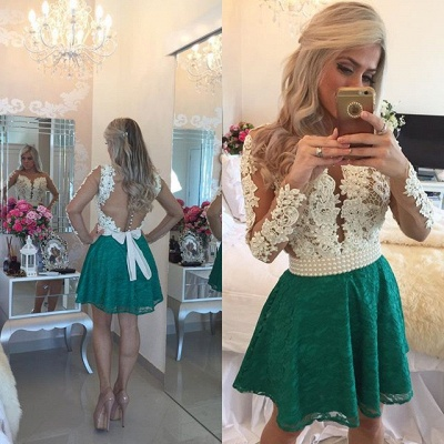 Long Sleeves Lace Pearls Short Homecoming Dresses Deep V Neck Sheer Tulle  Short Sexy Party Dresses  482265e04