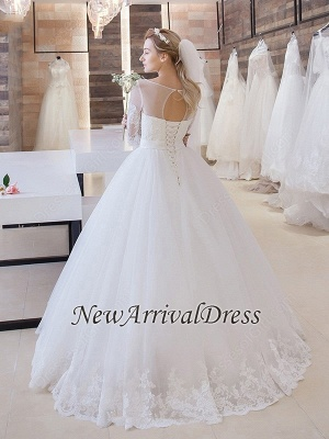 New Arrival Lace Princess Half Sleeve Stunning New Arrival Lace-Up Floor Length Elegant Wedding Dresses_1